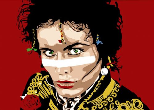 ADAM ANT - RED ART LANDSCAPE canvas print - self adhesive poster - photo print